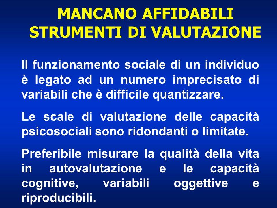 MANCANO AFFIDABILI STRUMENTI DI VALUTAZIONE Il funzionamento sociale di un individuo è legato ad un numero imprecisato di variabili che è difficile qu