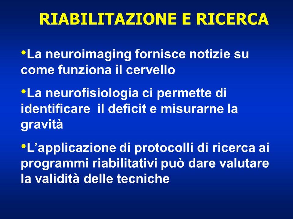 RIABILITAZIONE E RICERCA La neuroimaging fornisce notizie su come funziona il cervello La neurofisiologia ci permette di identificare il deficit e mis