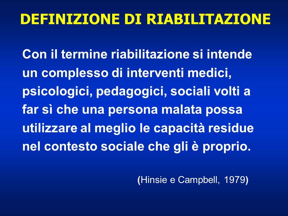 Con il termine riabilitazione si intende un complesso di interventi medici, psicologici, pedagogici, sociali volti a far sì che una persona malata pos