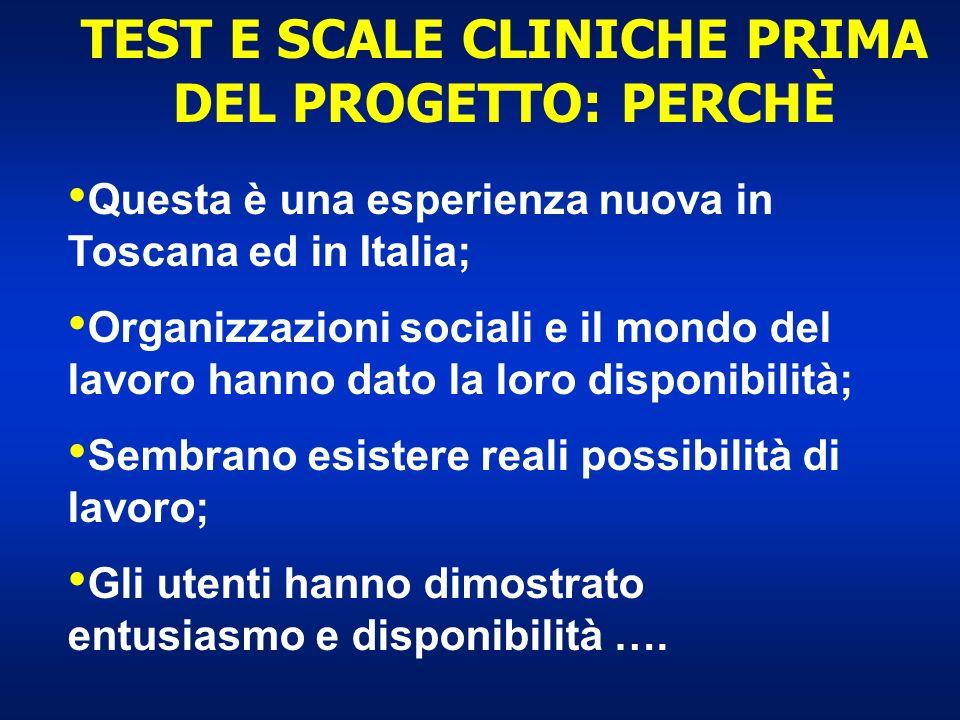 TEST E SCALE CLINICHE PRIMA DEL PROGETTO: PERCHÈ Questa è una esperienza nuova in Toscana ed in Italia; Organizzazioni sociali e il mondo del lavoro h