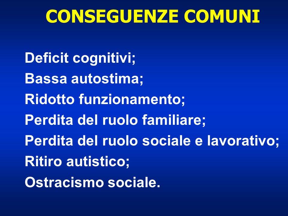 CONSEGUENZE COMUNI Deficit cognitivi; Bassa autostima; Ridotto funzionamento; Perdita del ruolo familiare; Perdita del ruolo sociale e lavorativo; Rit