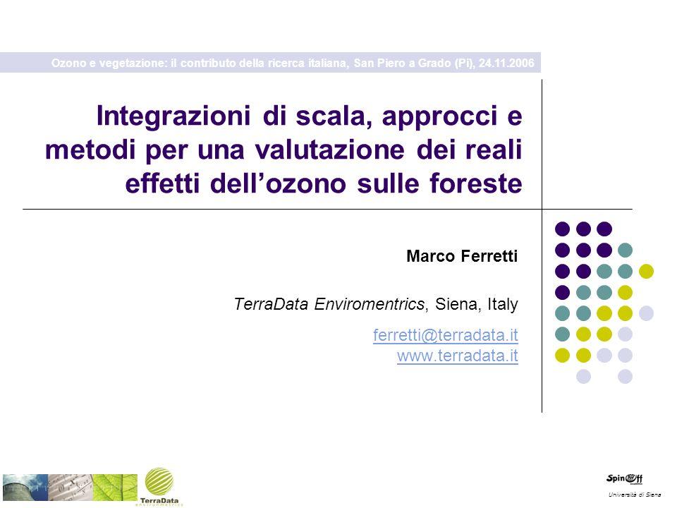 Integrazioni di scala, approcci e metodi per una valutazione dei reali effetti dellozono sulle foreste Università di Siena Marco Ferretti TerraData En