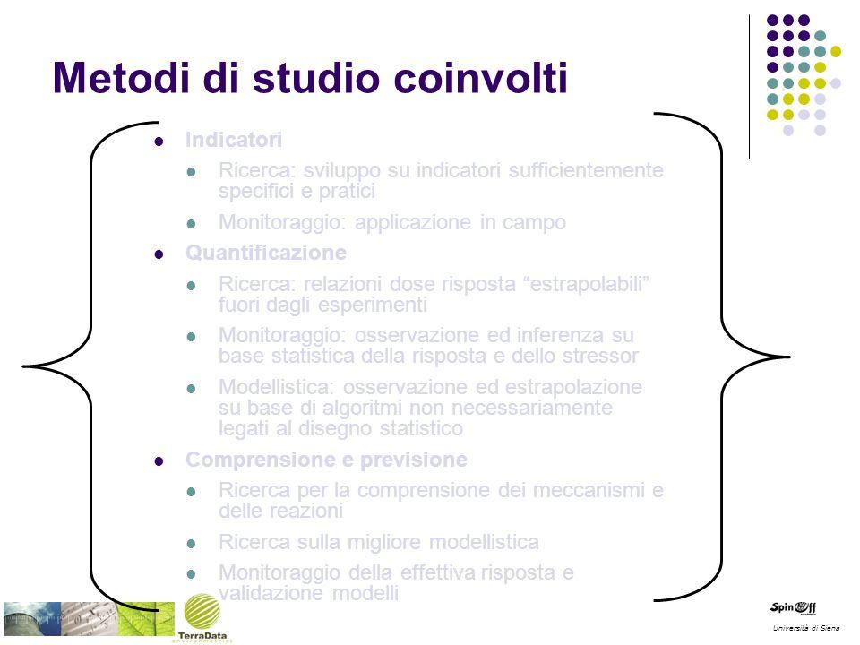 Università di Siena Metodi di studio coinvolti Indicatori Ricerca: sviluppo su indicatori sufficientemente specifici e pratici Monitoraggio: applicazi