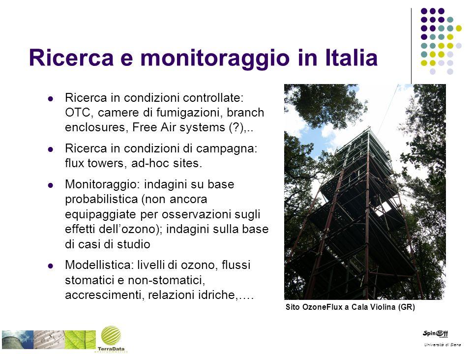 Ricerca e monitoraggio in Italia Ricerca in condizioni controllate: OTC, camere di fumigazioni, branch enclosures, Free Air systems (?),.. Ricerca in
