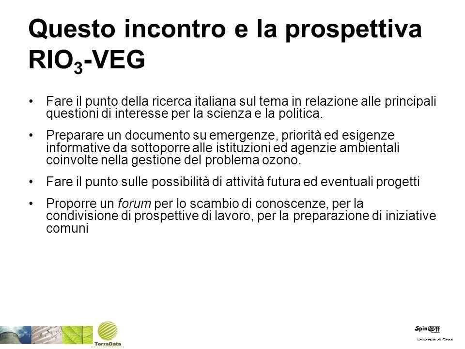 Questo incontro e la prospettiva RIO 3 -VEG Fare il punto della ricerca italiana sul tema in relazione alle principali questioni di interesse per la scienza e la politica.