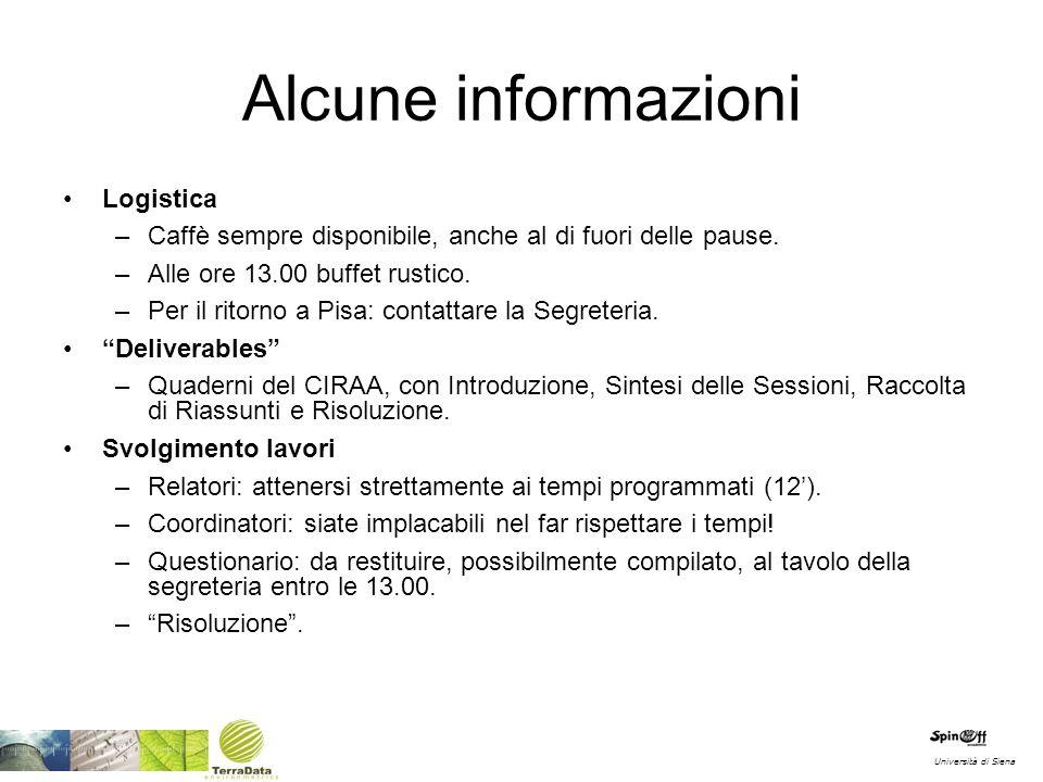Alcune informazioni Logistica –Caffè sempre disponibile, anche al di fuori delle pause. –Alle ore 13.00 buffet rustico. –Per il ritorno a Pisa: contat