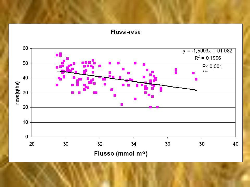 Flusso (mmol m -2 ) P< 0,001 ***