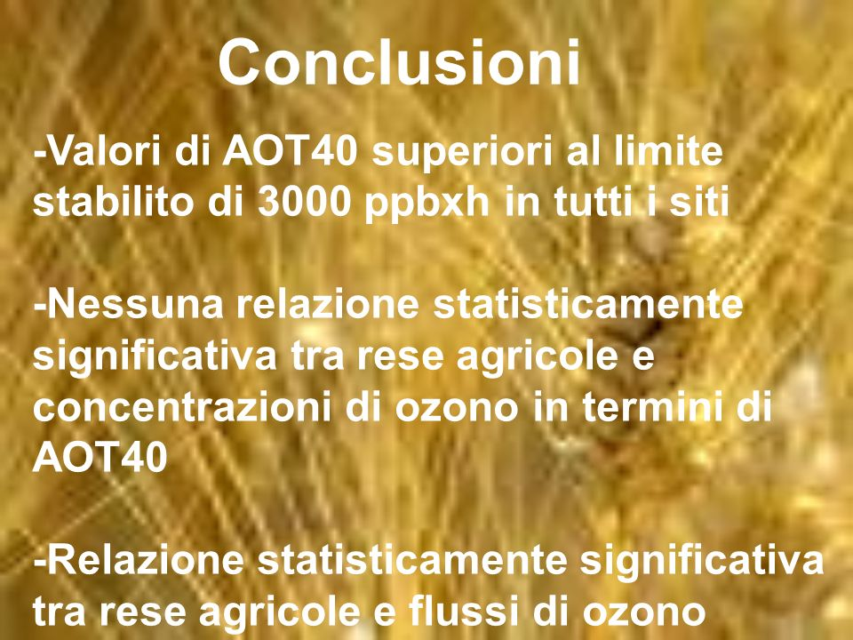 Conclusioni -Valori di AOT40 superiori al limite stabilito di 3000 ppbxh in tutti i siti -Nessuna relazione statisticamente significativa tra rese agricole e concentrazioni di ozono in termini di AOT40 -Relazione statisticamente significativa tra rese agricole e flussi di ozono