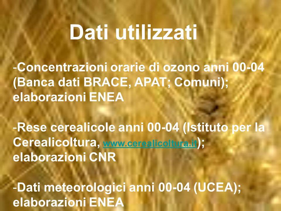 Dati utilizzati -Concentrazioni orarie di ozono anni 00-04 (Banca dati BRACE, APAT; Comuni); elaborazioni ENEA -Rese cerealicole anni 00-04 (Istituto per la Cerealicoltura, www.cerealicoltura.it ); elaborazioni CNR www.cerealicoltura.it -Dati meteorologici anni 00-04 (UCEA); elaborazioni ENEA