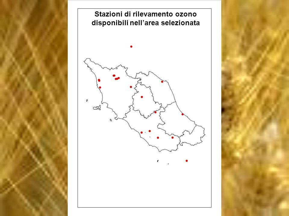 Stazioni di rilevamento ozono disponibili nellarea selezionata