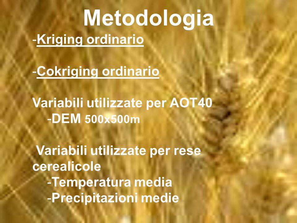 Metodologia -Kriging ordinario -Cokriging ordinario Variabili utilizzate per AOT40 -DEM 500x500m Variabili utilizzate per rese cerealicole -Temperatur