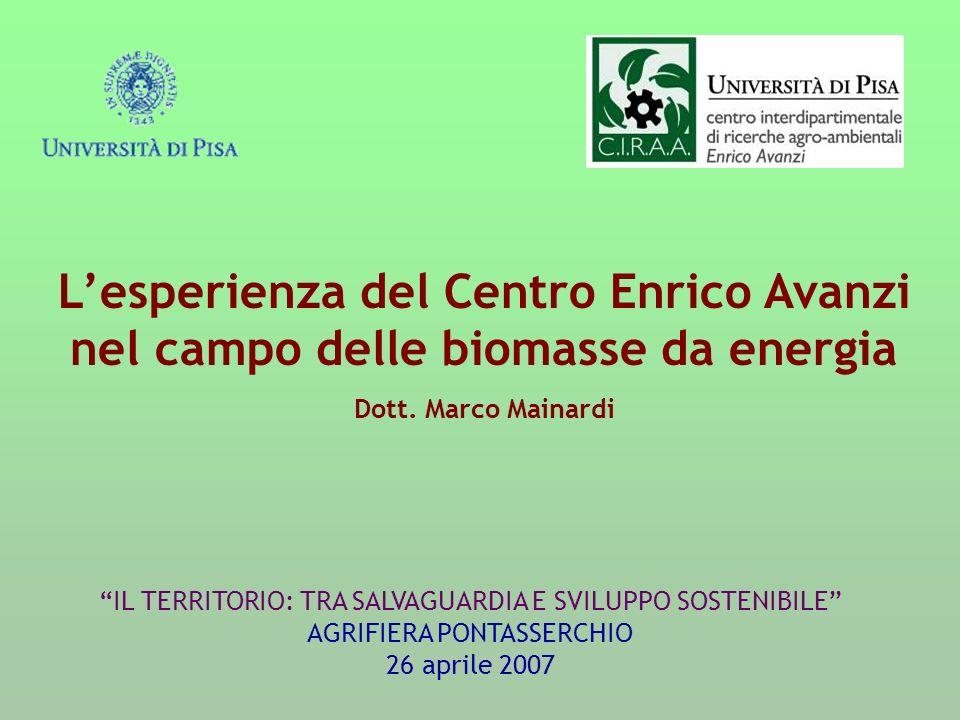 Lesperienza del Centro Enrico Avanzi nel campo delle biomasse da energia Dott. Marco Mainardi IL TERRITORIO: TRA SALVAGUARDIA E SVILUPPO SOSTENIBILE A
