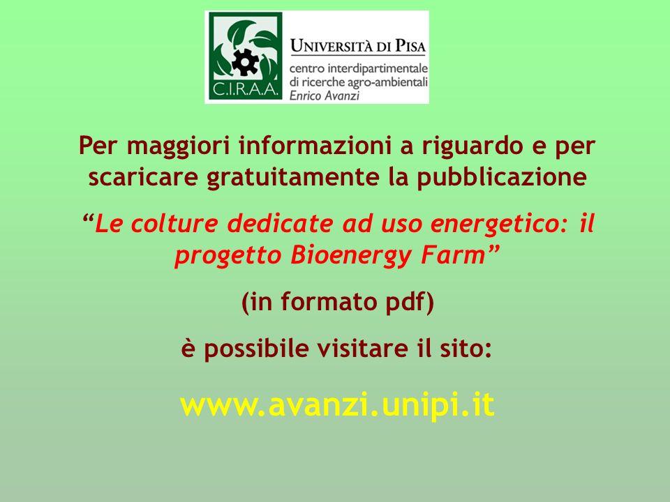 Per maggiori informazioni a riguardo e per scaricare gratuitamente la pubblicazione Le colture dedicate ad uso energetico: il progetto Bioenergy Farm