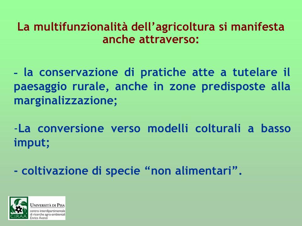 La multifunzionalità dellagricoltura si manifesta anche attraverso: - la conservazione di pratiche atte a tutelare il paesaggio rurale, anche in zone