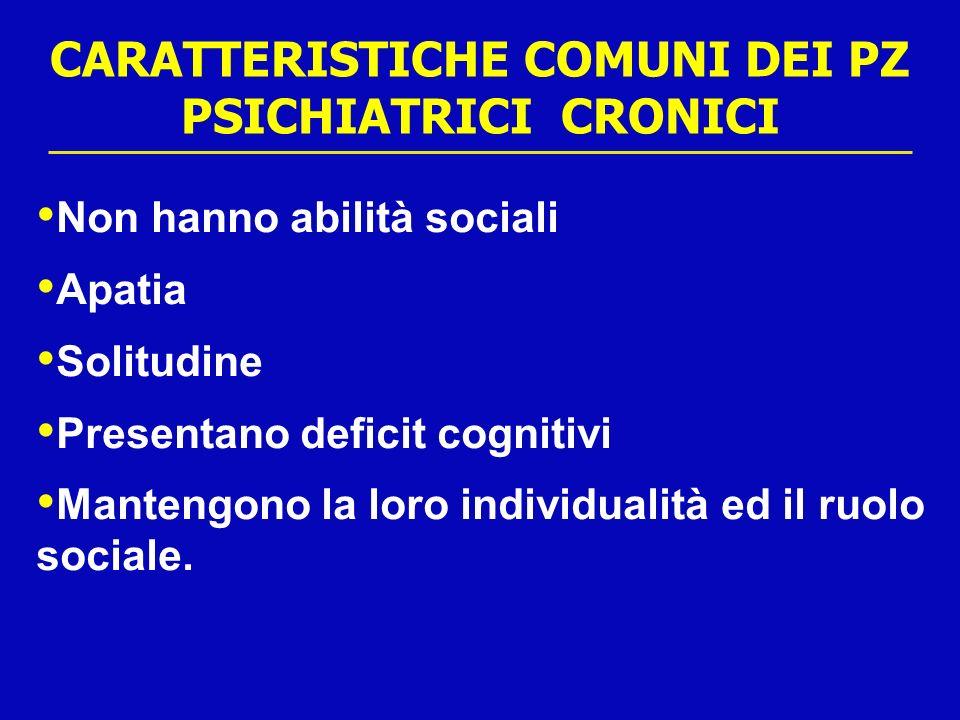 CARATTERISTICHE COMUNI DEI PZ PSICHIATRICI CRONICI Non hanno abilità sociali Apatia Solitudine Presentano deficit cognitivi Mantengono la loro individ