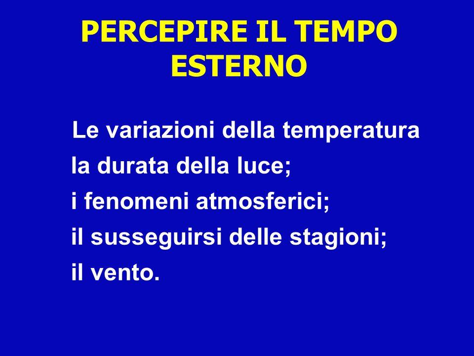Le variazioni della temperatura la durata della luce; i fenomeni atmosferici; il susseguirsi delle stagioni; il vento. PERCEPIRE IL TEMPO ESTERNO
