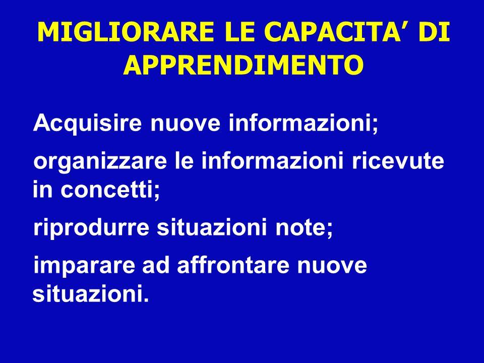 MIGLIORARE LE CAPACITA DI APPRENDIMENTO Acquisire nuove informazioni; organizzare le informazioni ricevute in concetti; riprodurre situazioni note; im