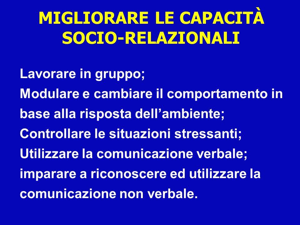 Lavorare in gruppo; Modulare e cambiare il comportamento in base alla risposta dellambiente; Controllare le situazioni stressanti; Utilizzare la comun