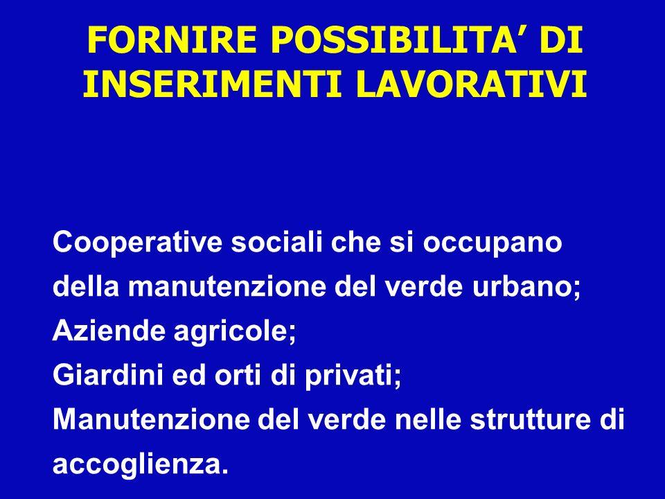 Cooperative sociali che si occupano della manutenzione del verde urbano; Aziende agricole; Giardini ed orti di privati; Manutenzione del verde nelle s