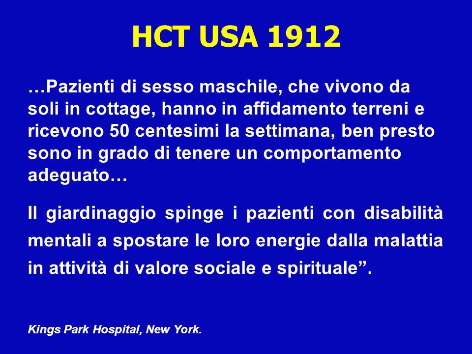 PRIMA SEGNALAZIONE DI HCT IN EUROPA Irlanda 1300 - In un monastero lorticoltura viene impiegata come terapia per le persone disabili.