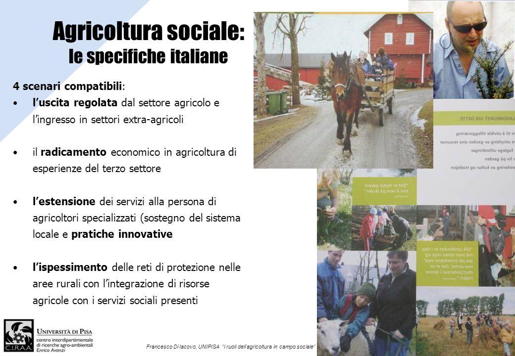 Francesco Di Iacovo, UNIPISA I ruoli dellagricoltura in campo sociale Agricoltura sociale: le specifiche italiane 4 scenari compatibili: luscita regol
