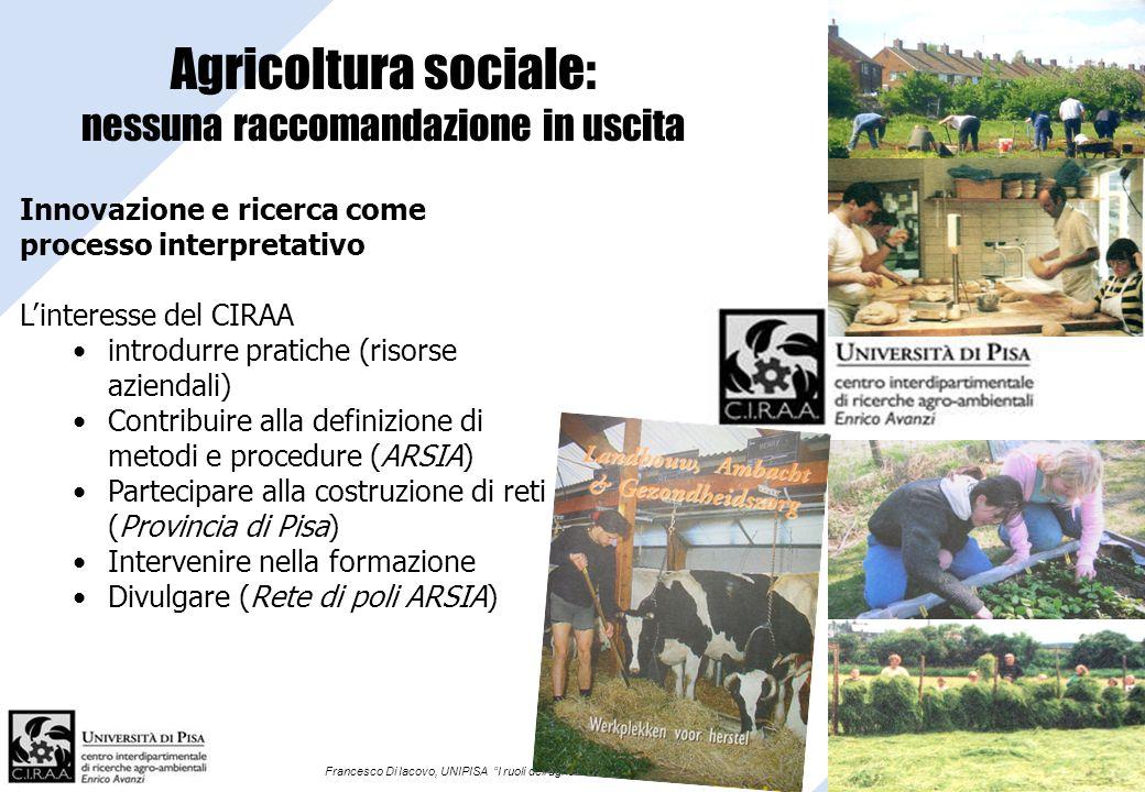 Francesco Di Iacovo, UNIPISA I ruoli dellagricoltura in campo sociale Agricoltura sociale: nessuna raccomandazione in uscita grazie Innovazione e rice