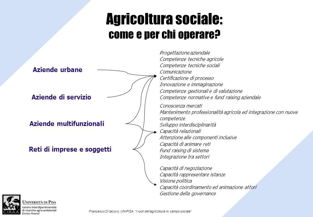 Francesco Di Iacovo, UNIPISA I ruoli dellagricoltura in campo sociale Agricoltura sociale: come e per chi operare? Aziende urbane Aziende di servizio