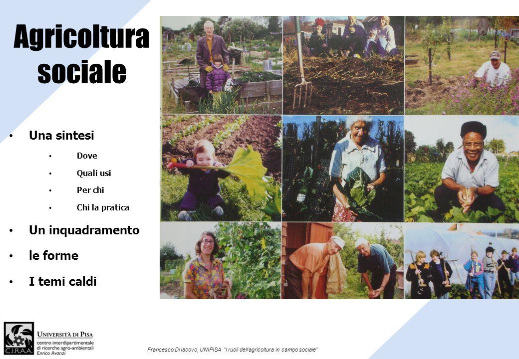 Francesco Di Iacovo, UNIPISA I ruoli dellagricoltura in campo sociale Agricoltura sociale Una sintesi Dove Quali usi Per chi Chi la pratica Un inquadr