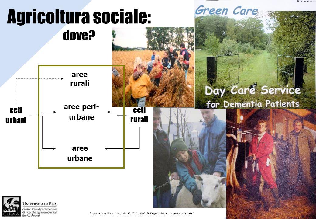 Francesco Di Iacovo, UNIPISA I ruoli dellagricoltura in campo sociale Agricoltura sociale: dove? aree urbane ceti urbani ceti rurali aree rurali aree