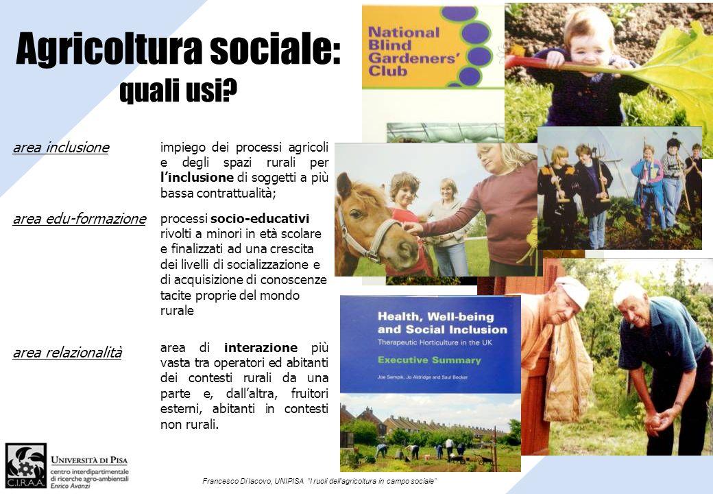 Francesco Di Iacovo, UNIPISA I ruoli dellagricoltura in campo sociale Agricoltura sociale: quali usi? impiego dei processi agricoli e degli spazi rura