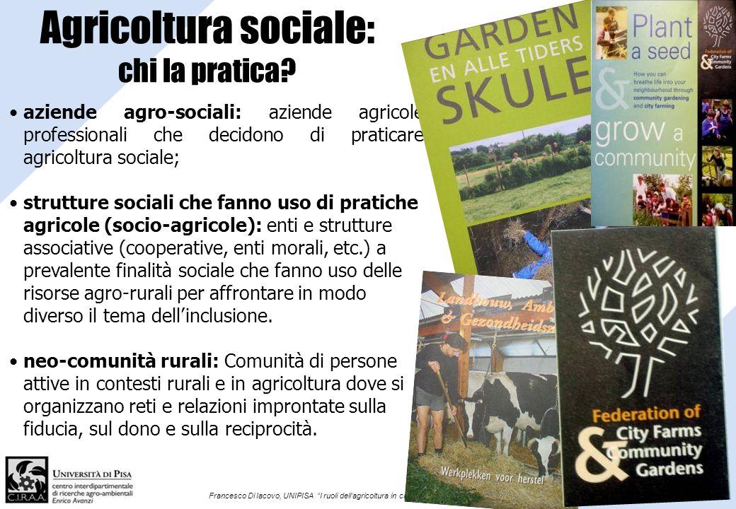 Francesco Di Iacovo, UNIPISA I ruoli dellagricoltura in campo sociale Agricoltura sociale: chi la pratica? aziende agro-sociali: aziende agricole prof