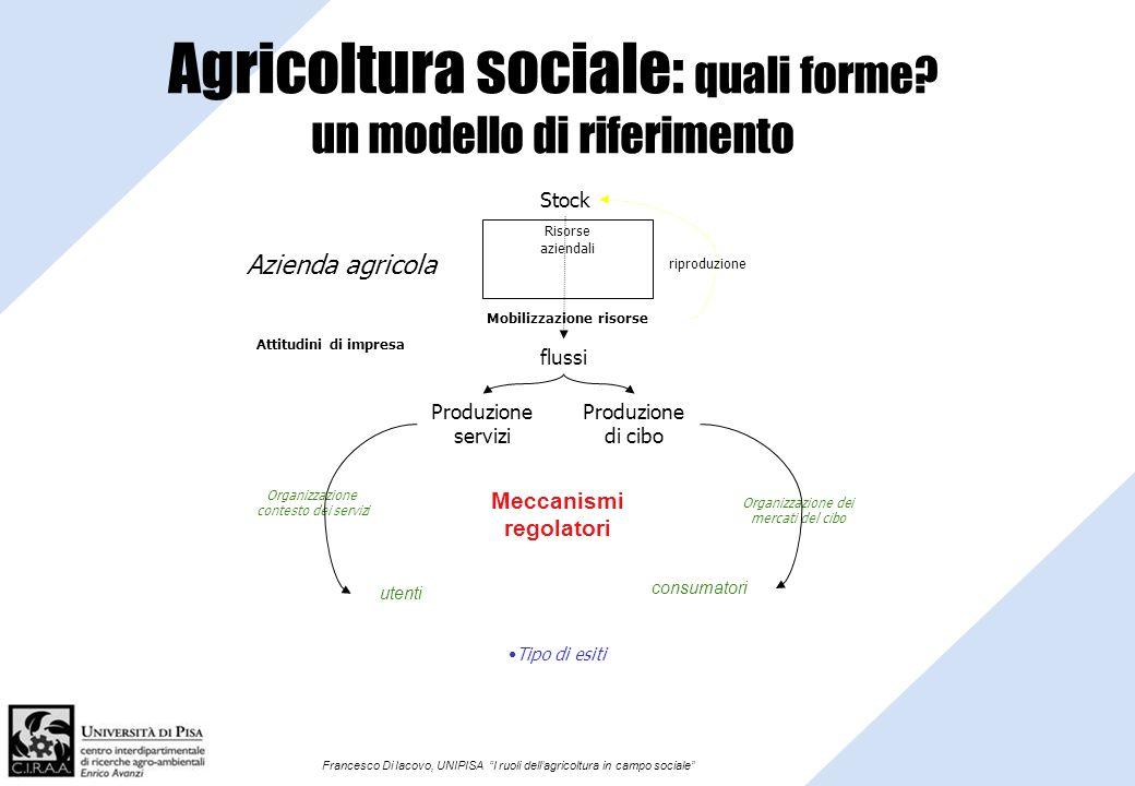 Francesco Di Iacovo, UNIPISA I ruoli dellagricoltura in campo sociale Agricoltura sociale: quali forme? un modello di riferimento Meccanismi regolator