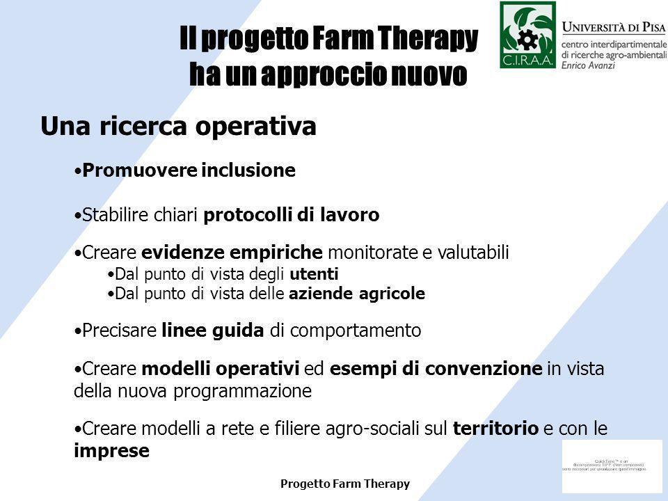 Progetto Farm Therapy Una ricerca operativa Promuovere inclusione Stabilire chiari protocolli di lavoro Creare evidenze empiriche monitorate e valutab