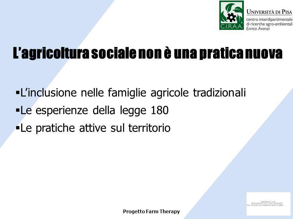 Progetto Farm Therapy Linclusione nelle famiglie agricole tradizionali Le esperienze della legge 180 Le pratiche attive sul territorio Lagricoltura so