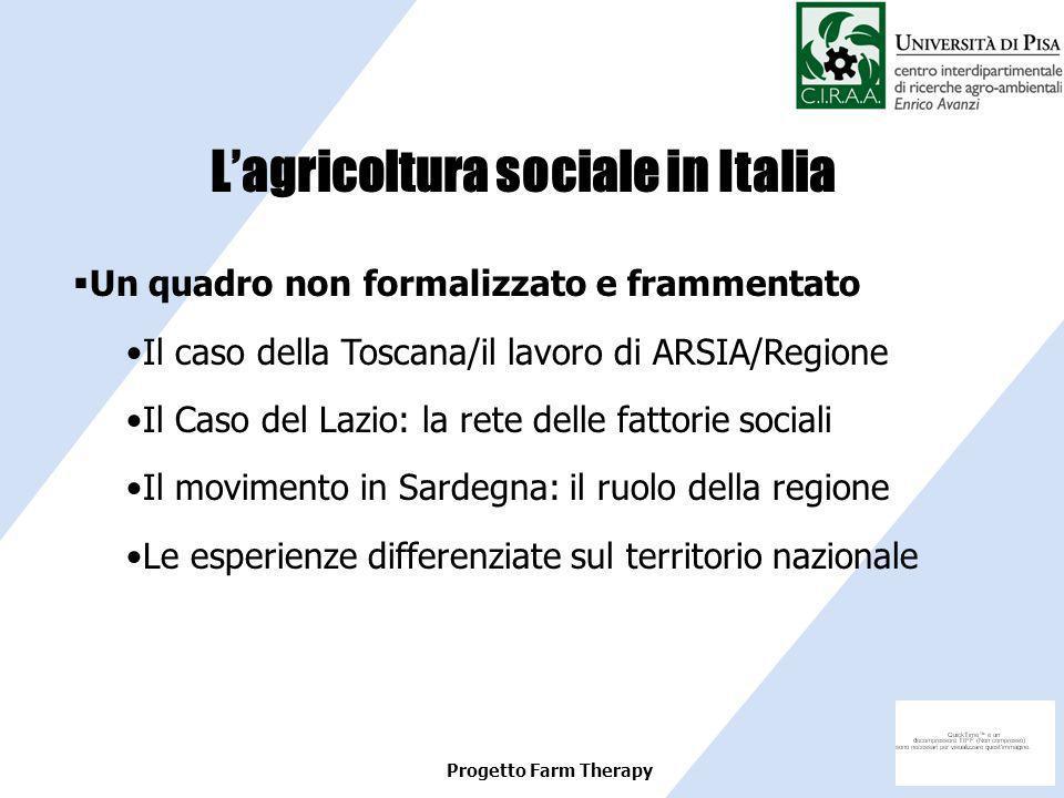 Progetto Farm Therapy Un quadro non formalizzato e frammentato Il caso della Toscana/il lavoro di ARSIA/Regione Il Caso del Lazio: la rete delle fatto
