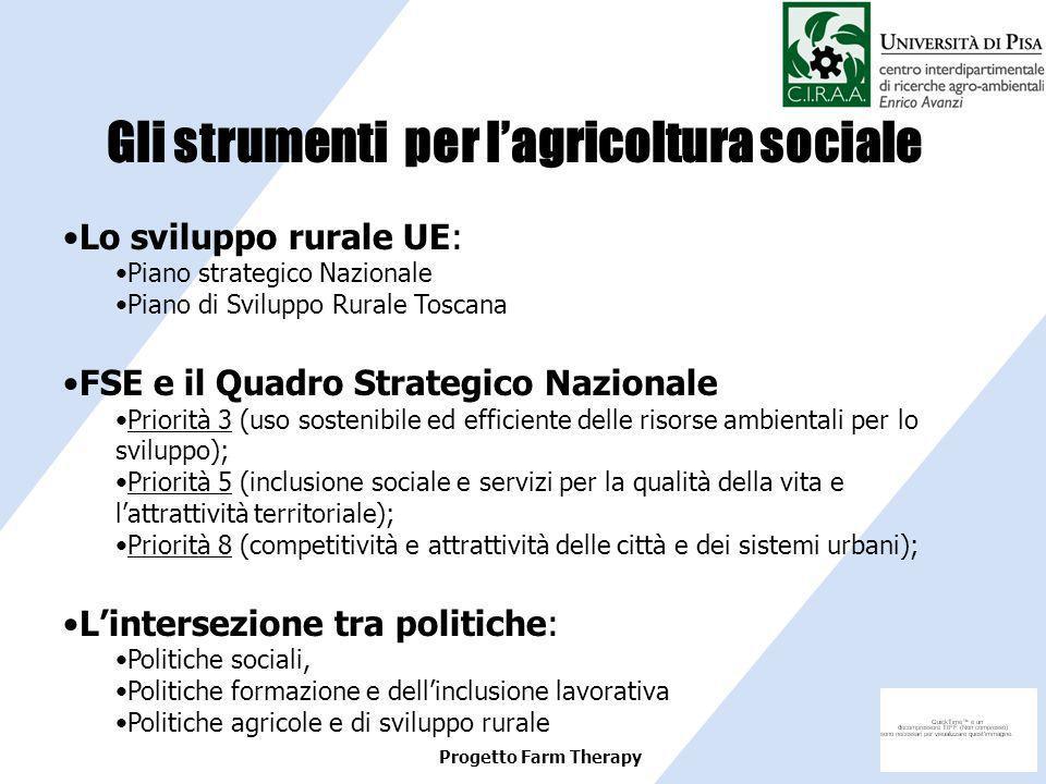Progetto Farm Therapy Lo sviluppo rurale UE: Piano strategico Nazionale Piano di Sviluppo Rurale Toscana FSE e il Quadro Strategico Nazionale Priorità