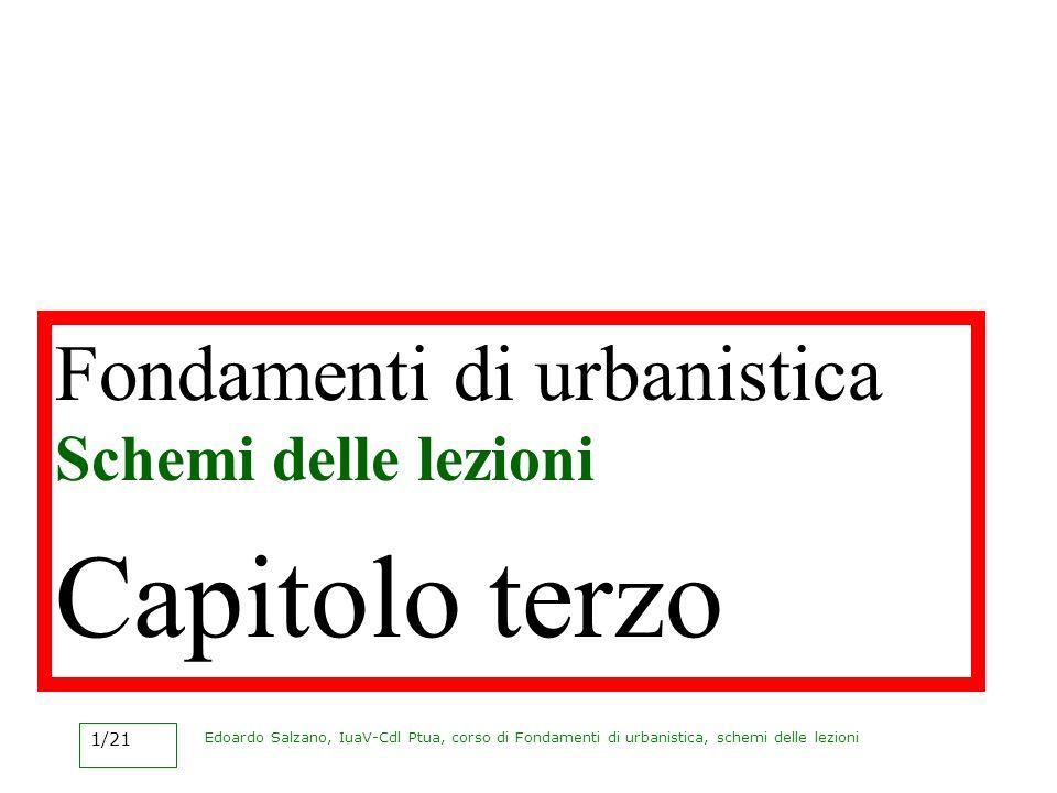 Edoardo Salzano, IuaV-Cdl Ptua, corso di Fondamenti di urbanistica, schemi delle lezioni 1/21 Fondamenti di urbanistica Schemi delle lezioni Capitolo