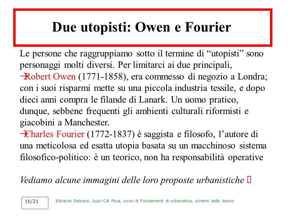 Edoardo Salzano, IuaV-Cdl Ptua, corso di Fondamenti di urbanistica, schemi delle lezioni 16/21 Due utopisti: Owen e Fourier Le persone che raggruppiam