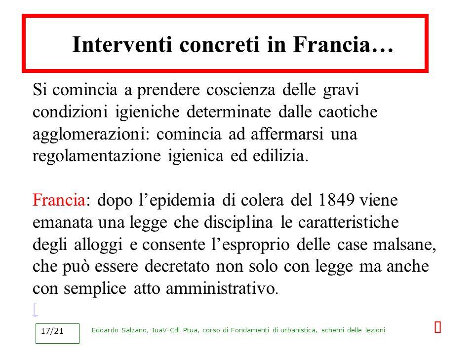 Edoardo Salzano, IuaV-Cdl Ptua, corso di Fondamenti di urbanistica, schemi delle lezioni 17/21 Interventi concreti in Francia… Si comincia a prendere