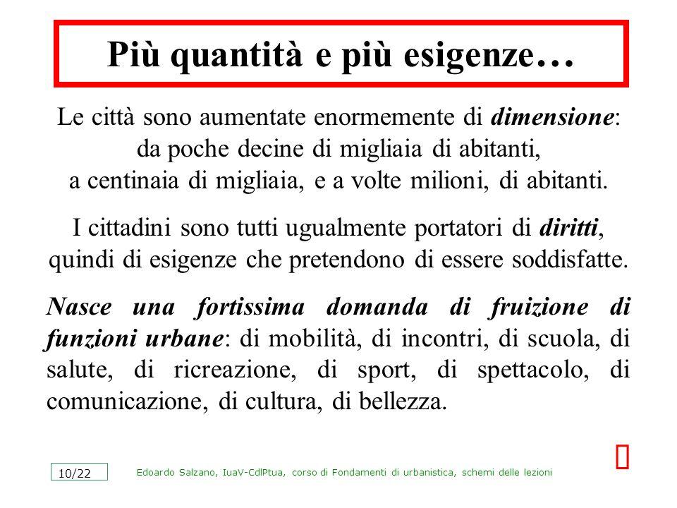 Edoardo Salzano, IuaV-CdlPtua, corso di Fondamenti di urbanistica, schemi delle lezioni 10/22 Più quantità e più esigenze … Le città sono aumentate en