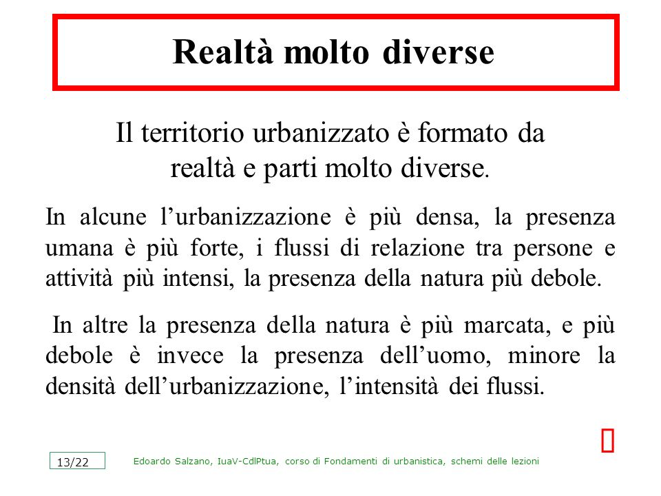 Edoardo Salzano, IuaV-CdlPtua, corso di Fondamenti di urbanistica, schemi delle lezioni 13/22 Realtà molto diverse Il territorio urbanizzato è formato