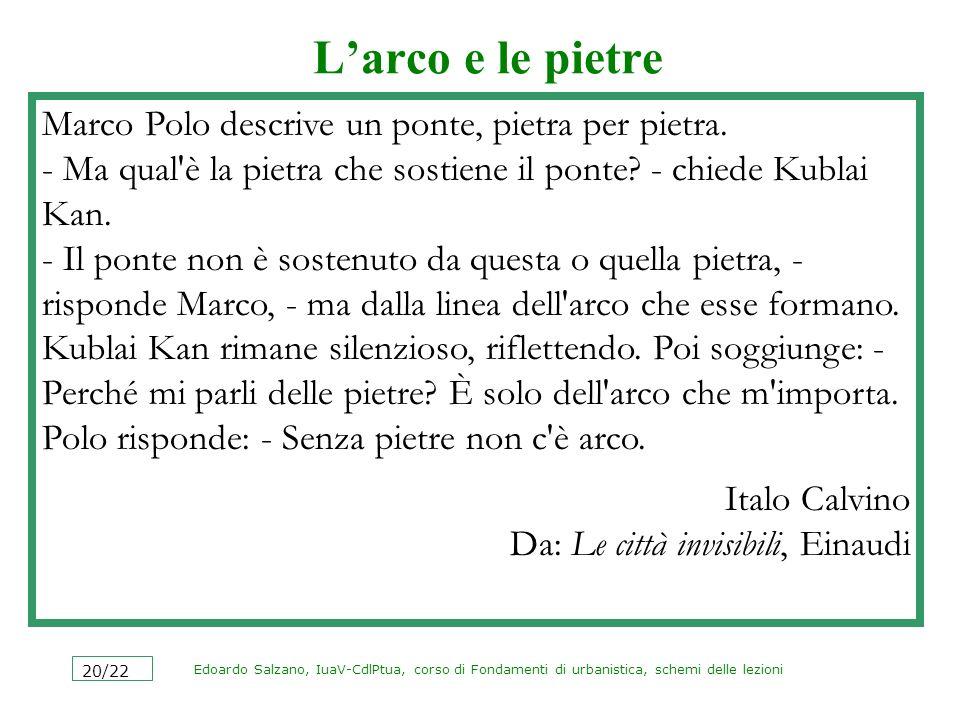 Edoardo Salzano, IuaV-CdlPtua, corso di Fondamenti di urbanistica, schemi delle lezioni 20/22 Larco e le pietre Marco Polo descrive un ponte, pietra p