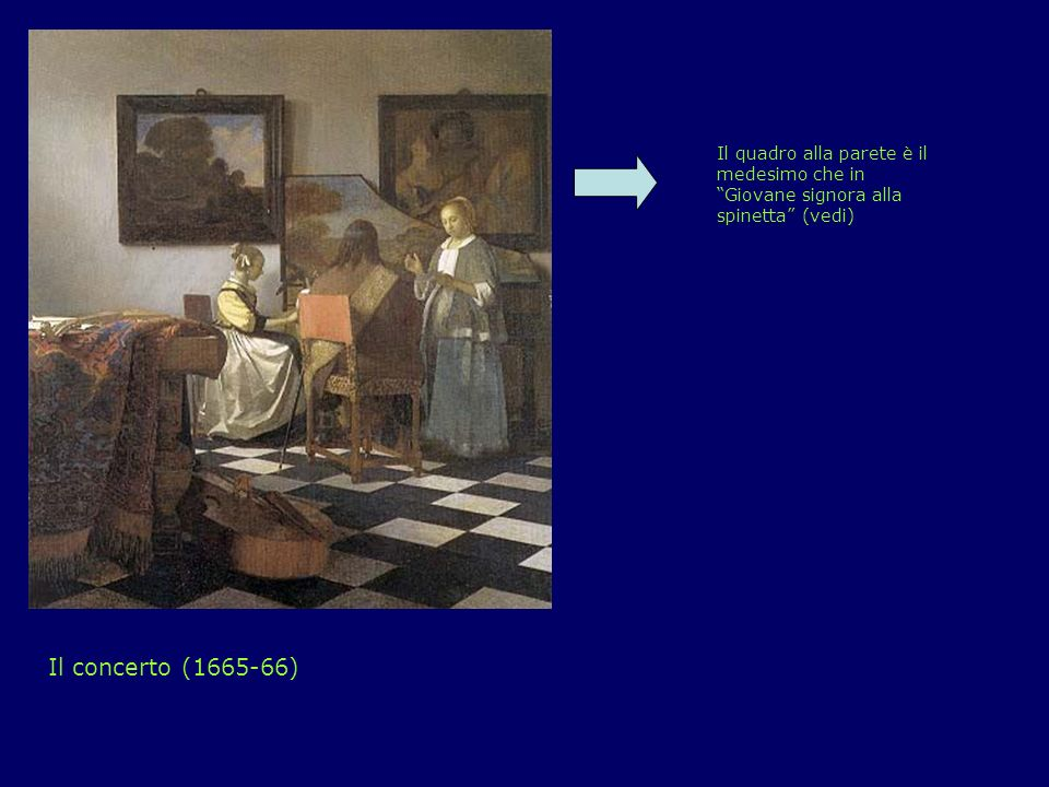 Il concerto (1665-66) Il quadro alla parete è il medesimo che in Giovane signora alla spinetta (vedi)