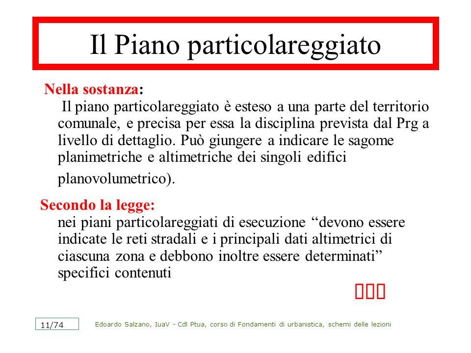 Edoardo Salzano, IuaV - Cdl Ptua, corso di Fondamenti di urbanistica, schemi delle lezioni 11/74 Il Piano particolareggiato Nella sostanza: Il piano p