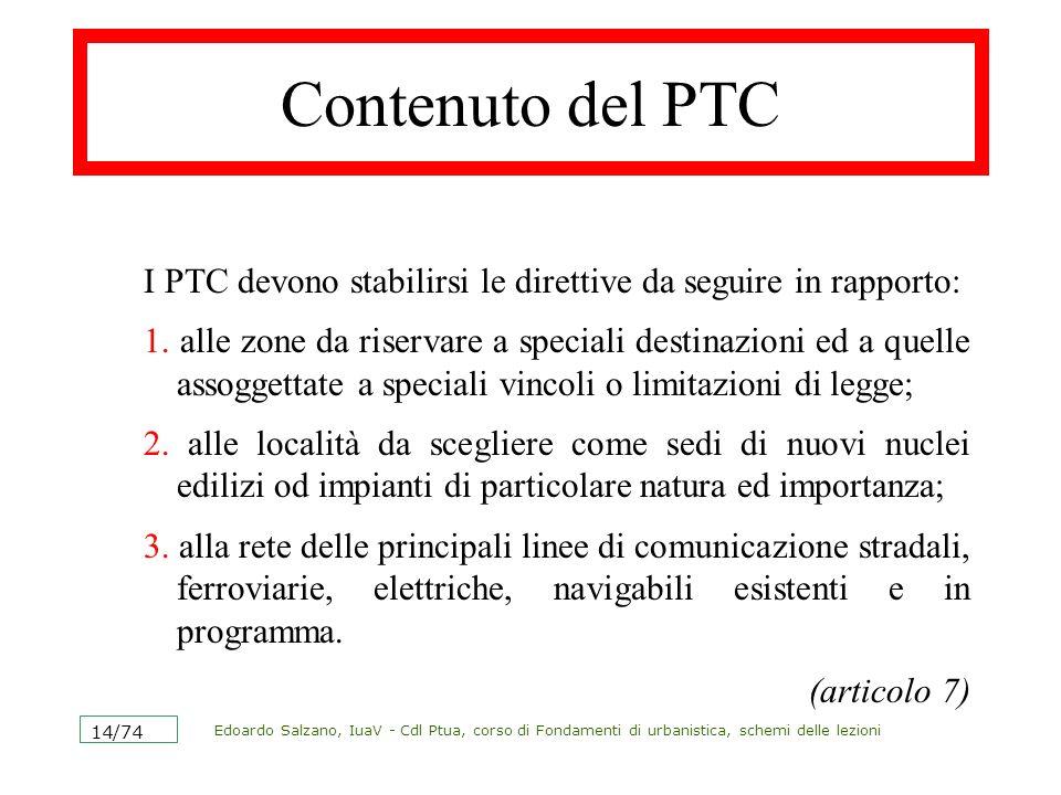 Edoardo Salzano, IuaV - Cdl Ptua, corso di Fondamenti di urbanistica, schemi delle lezioni 14/74 Contenuto del PTC I PTC devono stabilirsi le direttiv