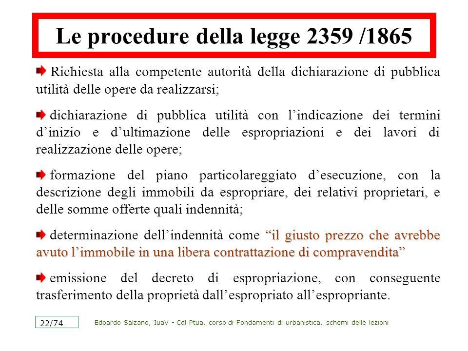 Edoardo Salzano, IuaV - Cdl Ptua, corso di Fondamenti di urbanistica, schemi delle lezioni 22/74 Le procedure della legge 2359 /1865 Richiesta alla co