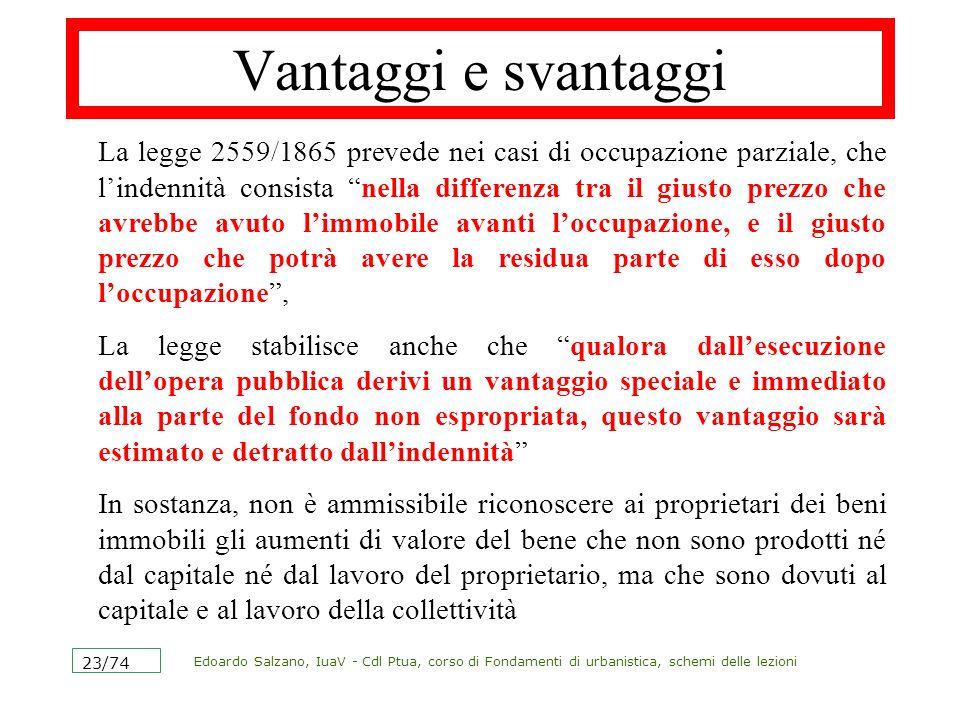 Edoardo Salzano, IuaV - Cdl Ptua, corso di Fondamenti di urbanistica, schemi delle lezioni 23/74 Vantaggi e svantaggi La legge 2559/1865 prevede nei c