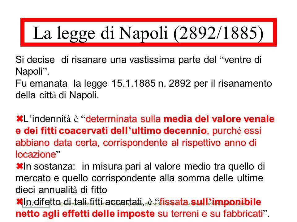 Edoardo Salzano, IuaV - Cdl Ptua, corso di Fondamenti di urbanistica, schemi delle lezioni 24/74 La legge di Napoli (2892/1885) Si decise di risanare