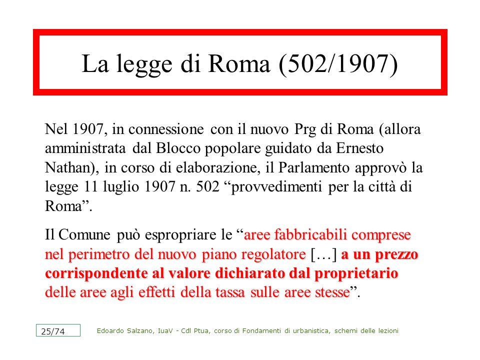 Edoardo Salzano, IuaV - Cdl Ptua, corso di Fondamenti di urbanistica, schemi delle lezioni 25/74 La legge di Roma (502/1907) Nel 1907, in connessione