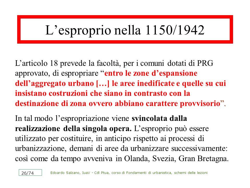 Edoardo Salzano, IuaV - Cdl Ptua, corso di Fondamenti di urbanistica, schemi delle lezioni 26/74 Lesproprio nella 1150/1942. Larticolo 18 prevede la f